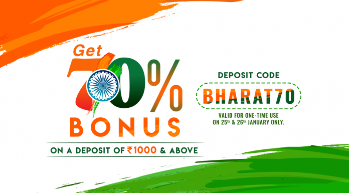 Celebrate This Republic Day With 70% Extra Bonus!